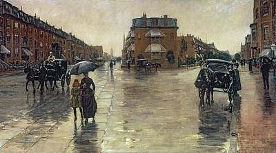 Horse Drawn Carriage Painting - A Rainy Day In Boston by Childe Hassam