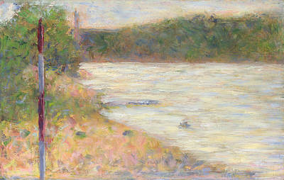 A River Bank The Seine At Asnieres Art Print by Georges Seurat