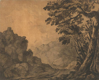 Mountain Sunset Drawing - A Road In A Mountain Landscape With Trees To The Right by Alexander Cozens