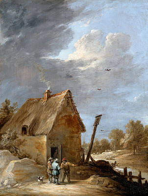 Puppy Painting - A Road Near A Cottage by David Teniers the Younger