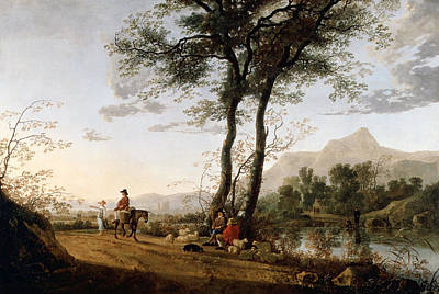 Donkey Painting - A Road Near A River by Aelbert Cuyp
