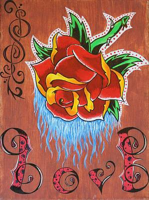 Drip Painting - A Rose For The Wife by Landon Clary