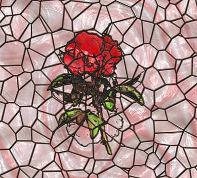 A Rose On Stained Glass Art Print by John M Bailey