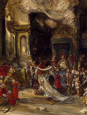 Drawing - A Royal Marriage Scene by Eugene Isabey