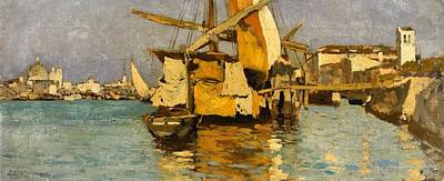 Sailing Painting -  A Sailing Boat On The Canale Della Giudecca by MotionAge Designs