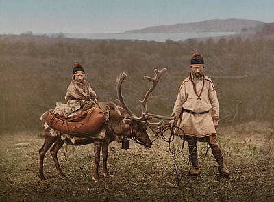A Sami Man And Child In Finnmark Art Print by MotionAge Designs