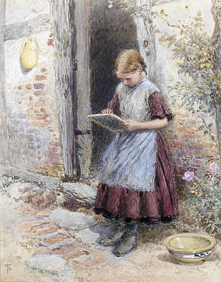Myles Birket Foster Painting - A School Girl by Myles Birket Foster