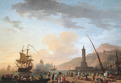 Ocean At Sunset Painting - A Seaport At Sunset by Claude-Joseph Vernet