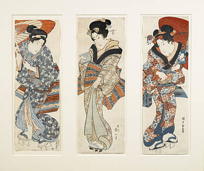 Woodblocks Painting - A Set Of Three Woodblock Prints Kakemono by Eastern Accents