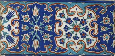 Iznik Painting - A Small Iznik Pottery Tile by Eastern Accents