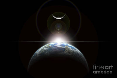 Surrealism Royalty Free Images - A Star Rising Over An Earth-like Planet Royalty-Free Image by Marc Ward