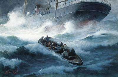 A Steam Yacht Foundering In A Storm With Rescue At Hand Art Print by MotionAge Designs