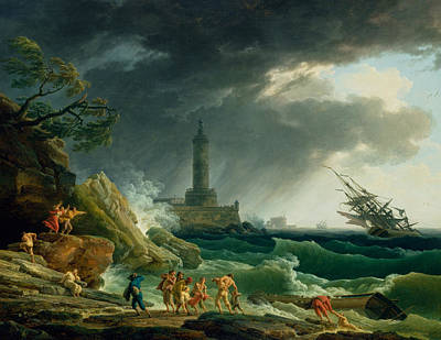 Painting - A Storm On A Mediterranean Coast by Claude-Joseph Vernet