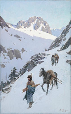 Mountain Drawings - A Successful Hunt by Henry Francois Farny