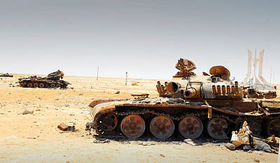 Foreign Military Photograph - A T-80 Tank Destroyed By Nato Forces by Andrew Chittock