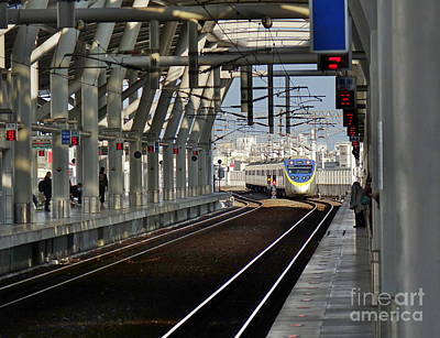 Photograph - A Train Enters A New Train Station In Taiwan by Yali Shi