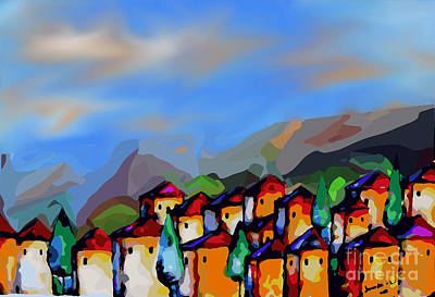 Tuscan Hills Digital Art - A Tuscan Village by Jennifer Van Niekerk