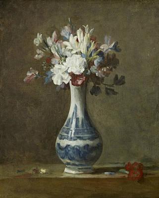 Simeon Painting - A Vase Of Flowers by Jean-Baptiste-Simeon Chardin