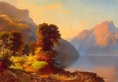 Fishing Pole Painting - A View Of A Lake In The Mountains by Mountain Dreams