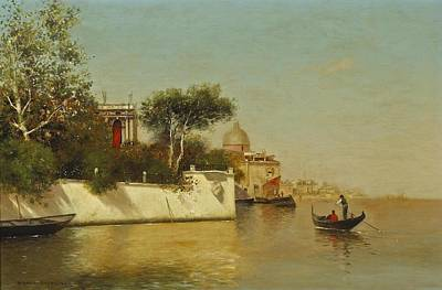 Villa Painting - A View Of A Venetian Villa With A Gondola In The Foreground by Warren W Sheppard