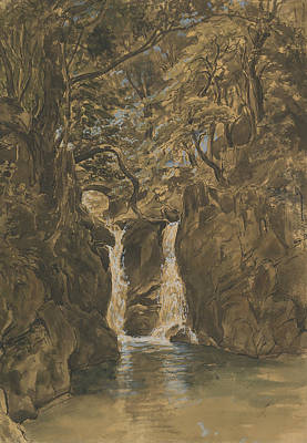 Drawing - A View Of Lower Rydal Falls, Cumbria by Thomas Fearnley