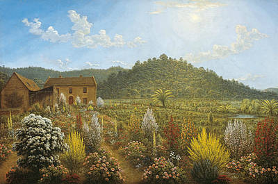 Painting - A View Of The Artist's House And Garden, In Mills Plains, Van Diemen's Land by John Glover