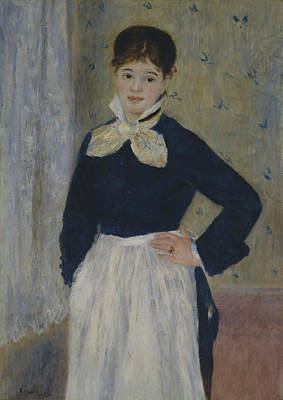 A Waitress At Duval's Restaurant Print by Auguste Renoir