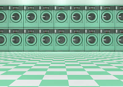 Laundromat Digital Art - A Wall Of A Well Lit Clean Stack Of Turquoise Industrial Washing Machines In A Laundromat - 3d Rende by Allan Swart