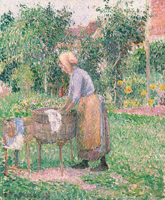 Painting - A Washerwoman At Eragny by Camille Pissarro