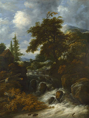 Rapids Painting - A Waterfall By A Cottage In A Hilly Landscape by Jacob van Ruisdael