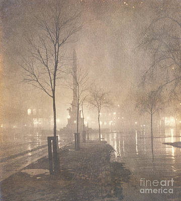 Mist Painting - A Wet Night  Columbus Circle by William Fraser