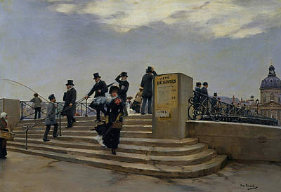 Belle Epoque Painting - A Windy Day On The Pont Des Arts by Jean Beraud