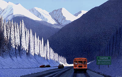 Snowscape Painting - A Winter Drive In British Columbia by Neil Woodward