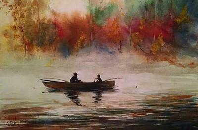 Donny Painting - Fishing With Grandpa by Don Seib