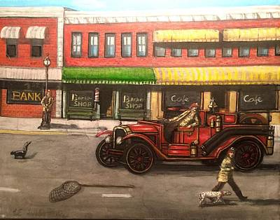 Volunteer Fireman Painting - A Wise Retreat by Larry E Lamb