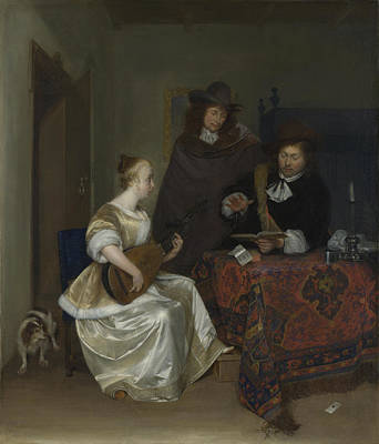 A Woman Playing A Theorbo To Two Men Art Print by Gerard ter Borch