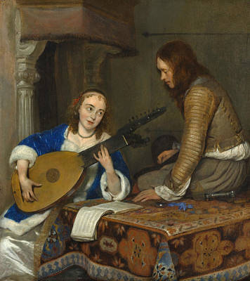Interior Scene Painting - A Woman Playing The Theorbo-lute And A Cavalier by Gerard ter Borch
