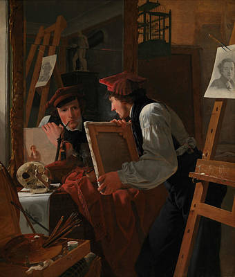 Examine Painting - A Young Artist Examining A Sketch In A Mirror by Wilhelm Bendz