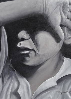 Crying Boy Painting - A Young Hearts Prayer by Penny Neimiller