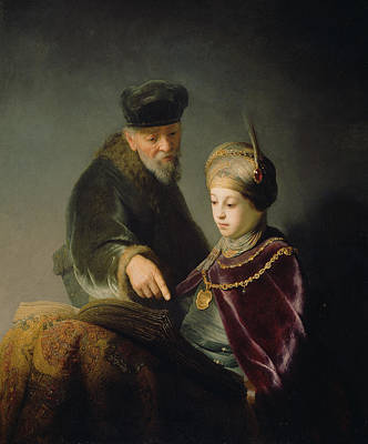 Scholar Painting - A Young Scholar And His Tutor by Rembrandt