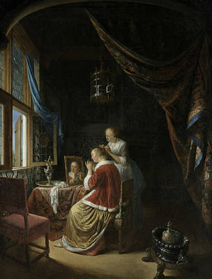Painting - A Young Woman At Her Toilet by Gerrit Dou
