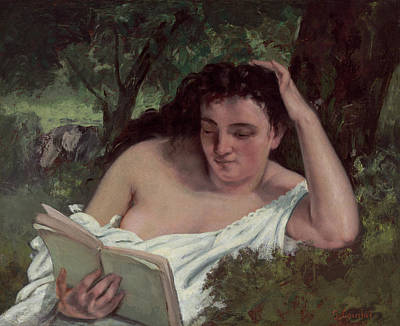 Realist Painting - A Young Woman Reading by Gustave Courbet