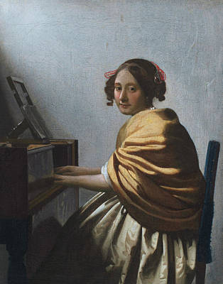 Musician Painting - A Young Woman Seated At The Virginal by Johannes Vermeer