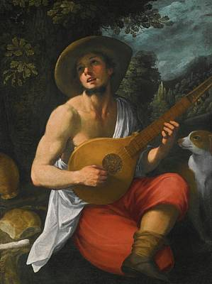 Youth Painting - A Youth Playing A Guitar by Astolfo Petrazzi