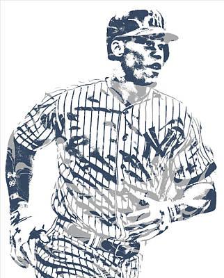 New York Yankees Mixed Media - Aaron Judge New York Yankees Pixel Art 10 by Joe Hamilton