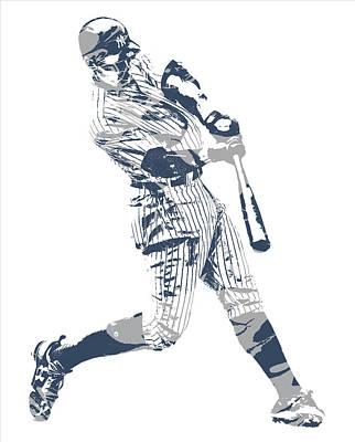 New York Yankees Mixed Media - Aaron Judge New York Yankees Pixel Art 13 by Joe Hamilton