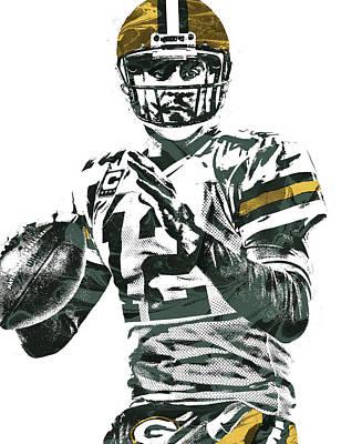 Aaron Rodgers Green Bay Packers Pixel Art 4 Art Print