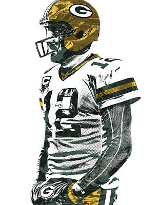 Mixed Media - Aaron Rodgers Green Bay Packers Pixel Art 5 by Joe Hamilton