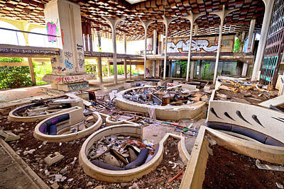 Photograph - Abandoned And Destructed Luxury Hotel Interior by Brch Photography