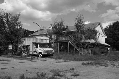 Photograph - Abandoned N And J Convenience Store 2 Bw by Joseph C Hinson Photography